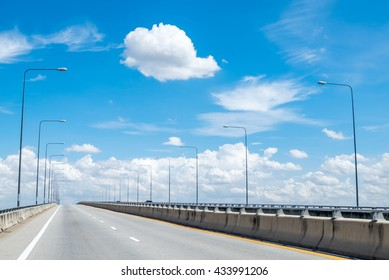 Beautiful empty freeway, motorway, highway against the background in Thailand