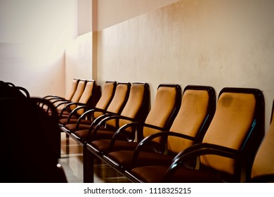 Beautiful empty metallic chairs in a row isolated object unique photograph