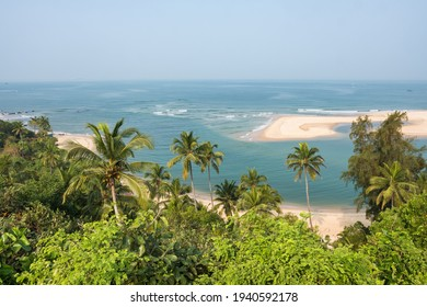 Beautiful empty sand beach landscape. Tropical landscape in Maharashtra state, Southern India