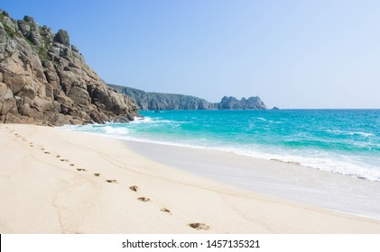 Beautiful Empty White Sand Beach in Cornwall in Summer with Foot Prints in the Sand