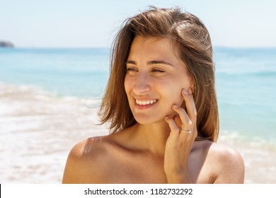 Beautiful Engaged Young Woman Portrait With Engagement Diamond Ring Feeling Happy On Beach