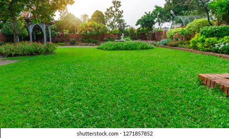 Beautiful English cottage garden, colorful flowering plant on smooth green grass lawn and group of evergreen trees in good care maintenance landscaping of a public park under sky and sunshine morning