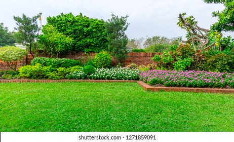 Beautiful English cottage garden, colorful flowering plant on smooth green grass lawn and group of evergreen trees in good care maintenance landscaping of a public park under white sky