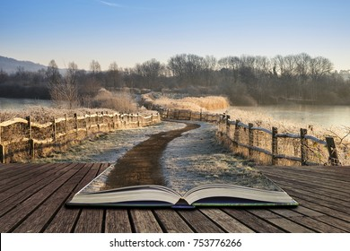 Beautiful English countryside lake image with frost and frozen lake in Winter at sunrise concept coming out of pages in open book