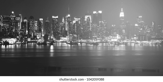 beautiful epic black and white photograph from new york city skyline