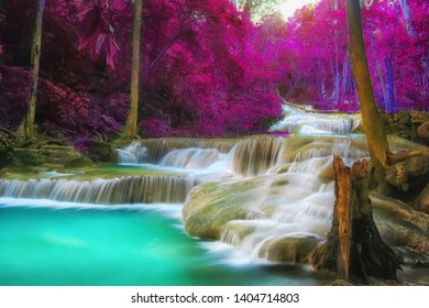 The beautiful Erawan cascade waterfall like heaven at the tropical forest ,Kanchanaburi National Park, Thailand