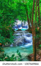 The beautiful Erawan cascade waterfall with turquoise water like heaven at the tropical forest ,Kanchanaburi National Park, Thailand