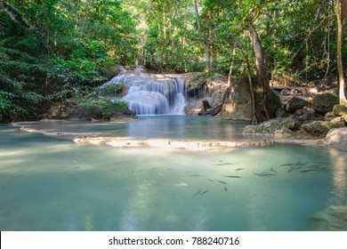 Beautiful Erawan waterfall in Deep forest , Kanchanaburi Province, Thailand.