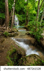 Beautiful erawan waterfall in forest  thailand