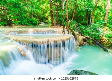 Beautiful Erawan Waterfall, Erawan National Park at Kanchanaburi in Thailand