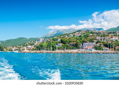 Beautiful European resort town on the beach