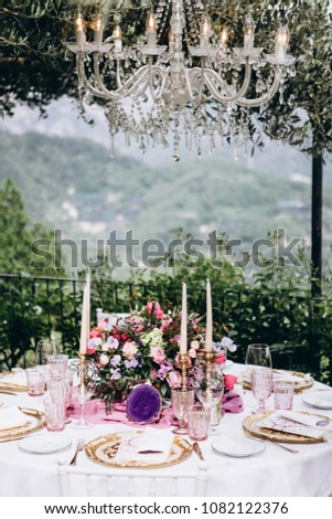 Beautiful European Wedding Table Decoration Flowers Stock Photo