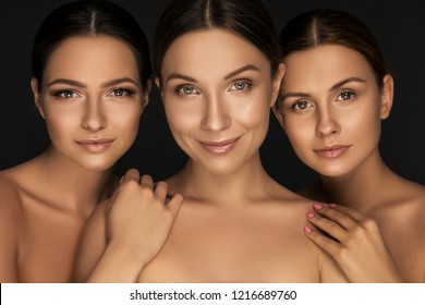 Beautiful european women on a black background. Flawless fresh skin with nude make up. Dark sensual portrait. Space for text