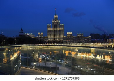 Beautiful evening cityscape in Moscow