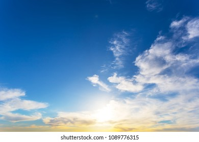 beautiful evening cloudy sky at the sunset