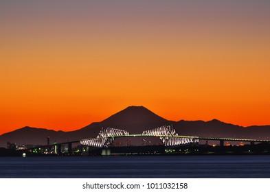 Beautiful evening landscape of Mt. Fuji over Tokyo Bay and Tokyo Gate Bridge, January 27, 2018, Maihama, Urayasu City, Chiba Prefecture, Japan.