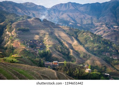 Beautiful evening at Longji rice terraces with traditional Yao minority villages at Guangxi, China.