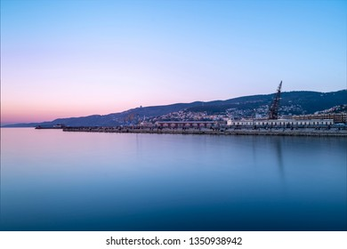 Beautiful evening on Molo Audace in Trieste, Italy