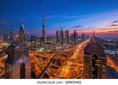 Beautiful evening over Dubai Downtown