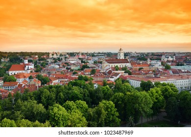 Beautiful evening panorama of Vilnius old town, taken from the Gediminas hill