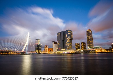 Beautiful evening in Rotterdam city at blue hour. Holland, The Netherlands