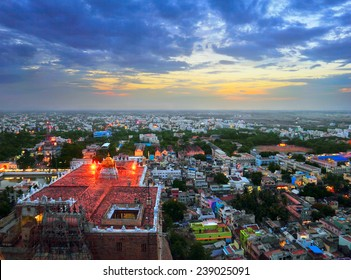 Beautiful evening scene of Trichy (Tiruchirapalli) city - view from ancient Rock Fort (Rockfort) and Hindu temple, Tamil Nadu state, India, South Asia