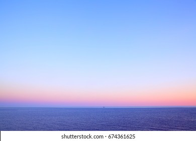 Beautiful evening seascape with sea horizon and clear sky, natural photo background