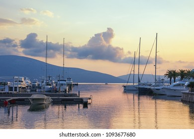 Beautiful evening seascape with yachts in pastel colors. Montenegro, Bay of Kotor (Adriatic Sea),Tivat, marina Porto Montenegro