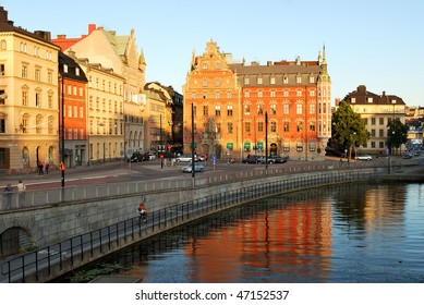 Beautiful evening Stockholm in the rays of sunset
