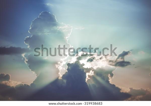 Beautiful evening sunset with beautiful clouds