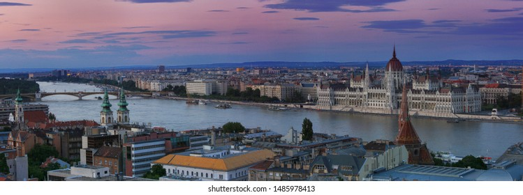Beautiful evening sunset view of the city of Budapest in Hungary