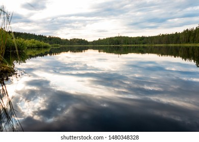 Beautiful evening view at the blue hour over the Safssjon  lake in the region Dalarna in the middle of Sweden