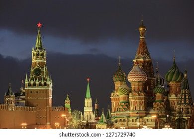 Beautiful evening view of St. Basil's Cathedral, Spasskaya Tower of the Moscow Kremlin and Red Square