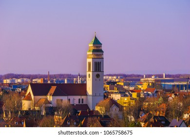 Beautiful evening view of the St. Johannes Nepomuk catholic church built at the beginning of the twentieth century in Kehl, Germany