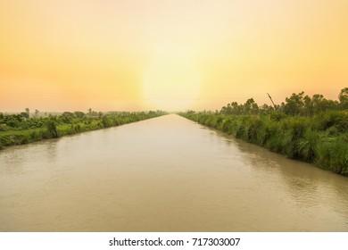 Beautiful evening view of water canal between crop field.