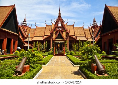 A beautiful example of the symmetry in traditional Khmer architecture at Cambodia's National museum in Phnom Penh.