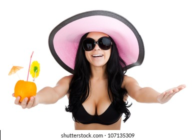beautiful excited woman wear summer pink hat, black bikini swimsuit, sunglasses, girl raised up arms hands at you, smiling hold cocktail, tan body isolated over white background