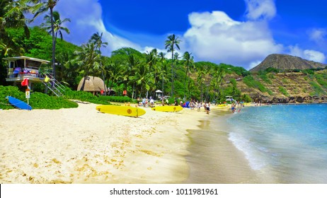 Beautiful exotic beach in Oahu, Hawaii - Hanauma bay - the view on the lifeguard house, palm trees and plants, mountains and yellow surf boards on the white sandy beach