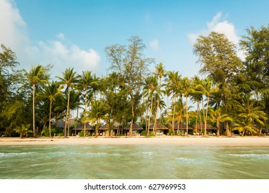 Beautiful exotic beach and very nice beach for relaxation, Breathtaking white sandy with coconut palm tree at Koh Kood Island, Located Trat province, Thailand
