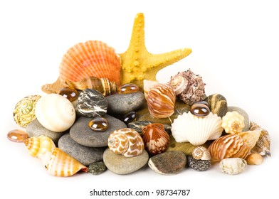 Beautiful exotic shell and stones, pearls on white background.