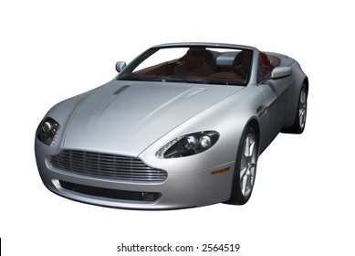 Beautiful and expensive European convertible sports car isolated on a white background. Look in my gallery for more car photos like this.