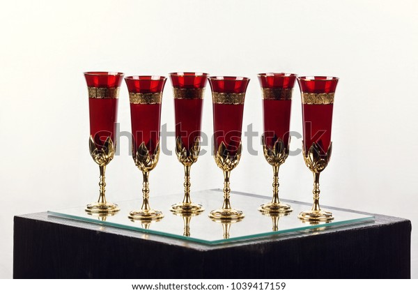 beautiful expensive glasses on white background