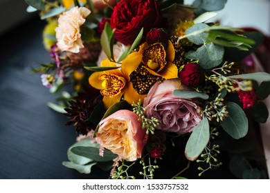 Beautiful expensive wedding bouquet with fresh flowers
