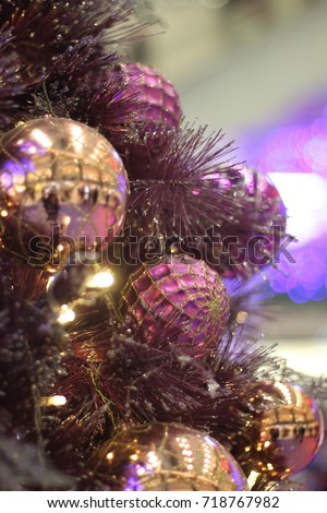 beautiful and exquisite purple pink and gold christmas ornaments wallpaper background soft focus - Pink And Gold Christmas Decorations