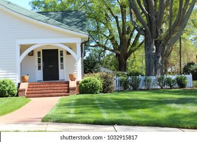 Beautiful exterior house in rural suburban neighborhood. North Carolina, South Carolina, architecture