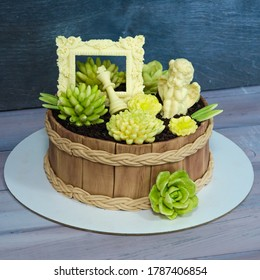 Beautiful extra chocolate cake with succulents and an angel