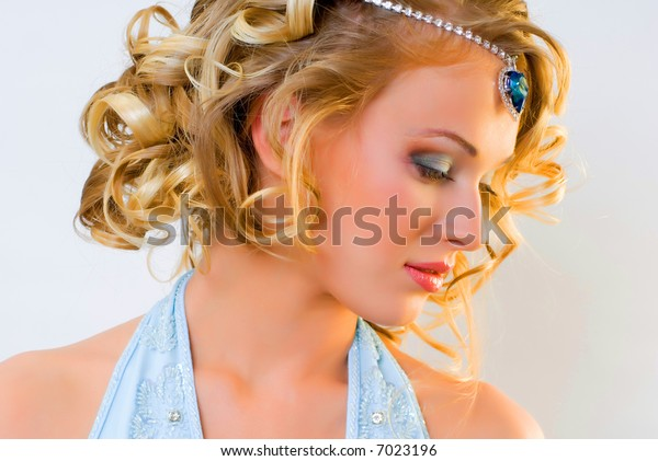 The beautiful extravagant bride with a fashionable make-up