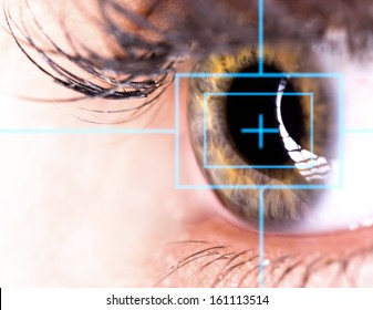 Beautiful Eye with laser, close-up