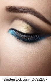 Beautiful eye with makeup close up