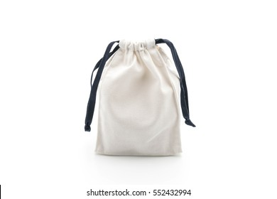beautiful fabric bag on white background